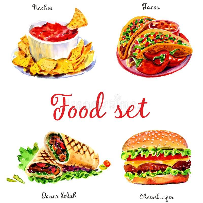 Fast food Na bia?y tle odosobneni przedmioty royalty ilustracja