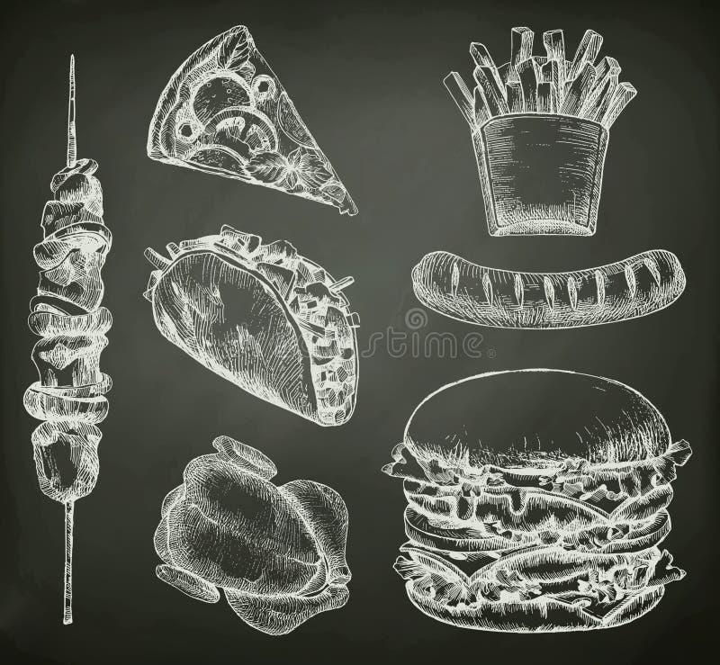Fast food, nakreślenia na chalkboard royalty ilustracja