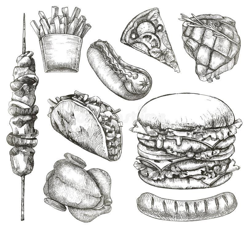 Fast food, nakreślenia, ręka rysunek ilustracja wektor