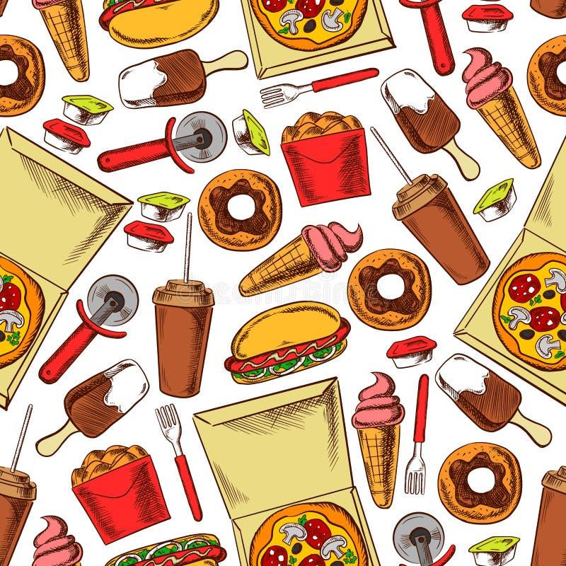 Fast food, napoje, desery Bezszwowy tło ilustracji