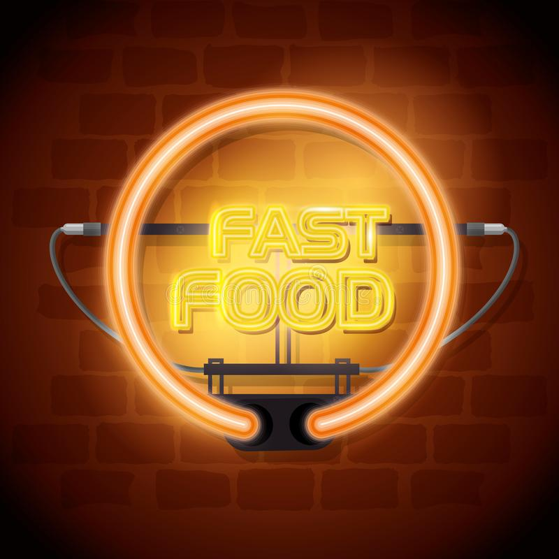 Fast food neon label. Vector illustration design royalty free illustration