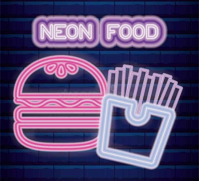 Fast food neon light label. Vector illustration design vector illustration