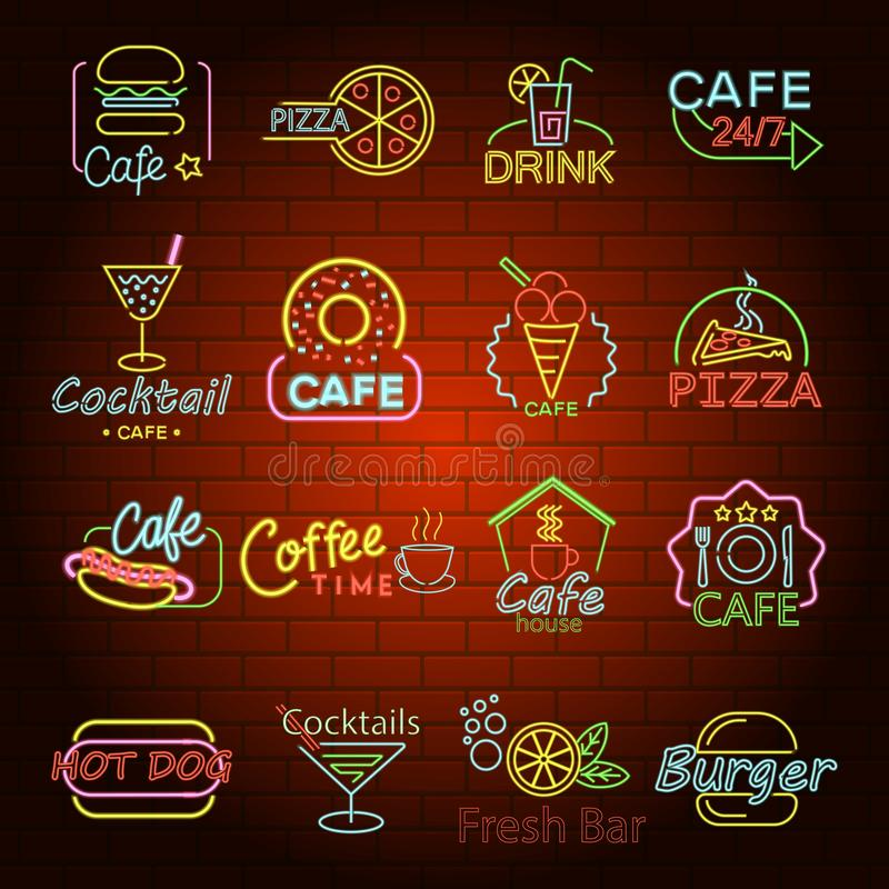 Fast food neon shop sign icons set, flat style. Fast food neon glow shop sign icons set. Flat illustration of 16 fast food neon glow shop sign vector icons for royalty free illustration
