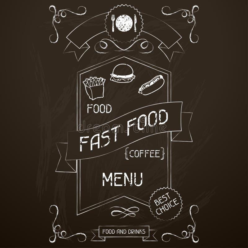 Fast food no quadro do menu do restaurante ilustração do vetor