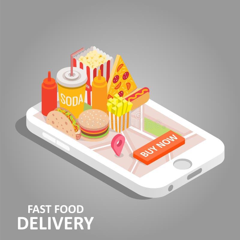 Fast food online wektorowa isometric ilustracja ilustracja wektor