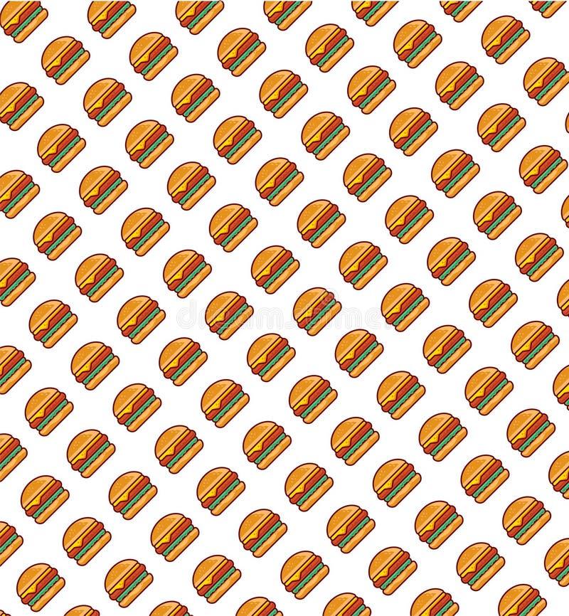 Fast food, opakunkowy papier Hamburger ilustraci tekstura ilustracja wektor