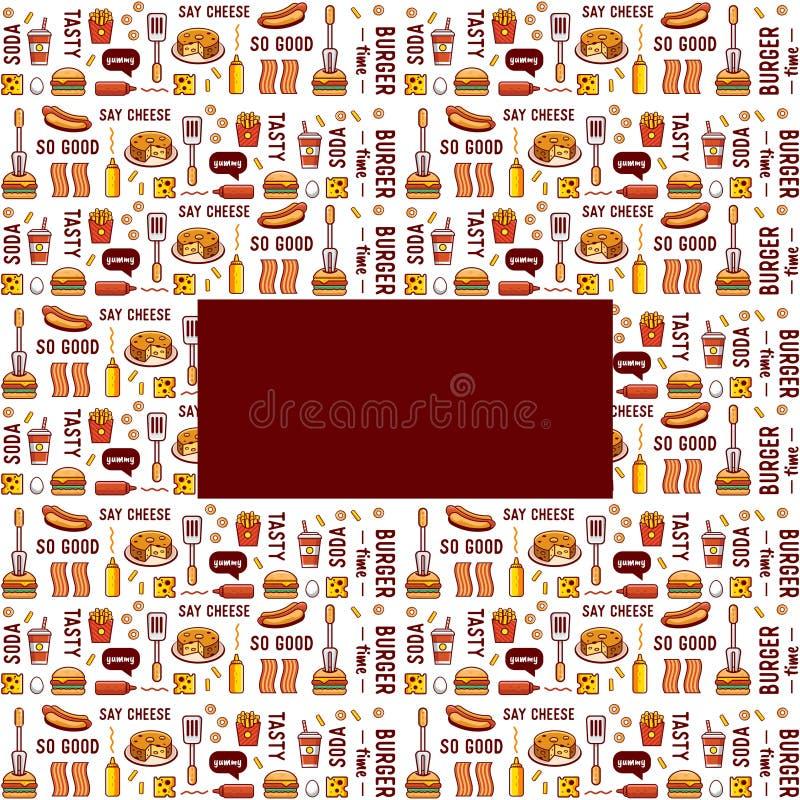 Fast food, opakunkowy papier projekta karmowy ikon ilustraci wektor ty royalty ilustracja