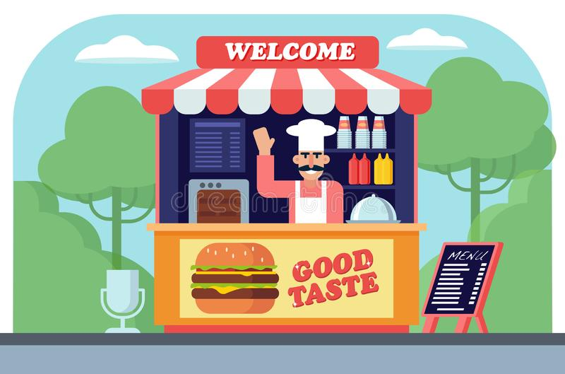 Illustration Of Character With Fast Food Stock Vector