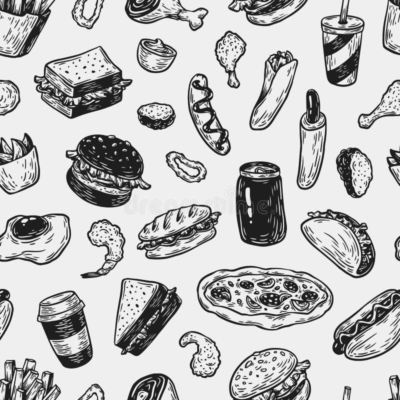 Fast Food, Pattern. stock illustration