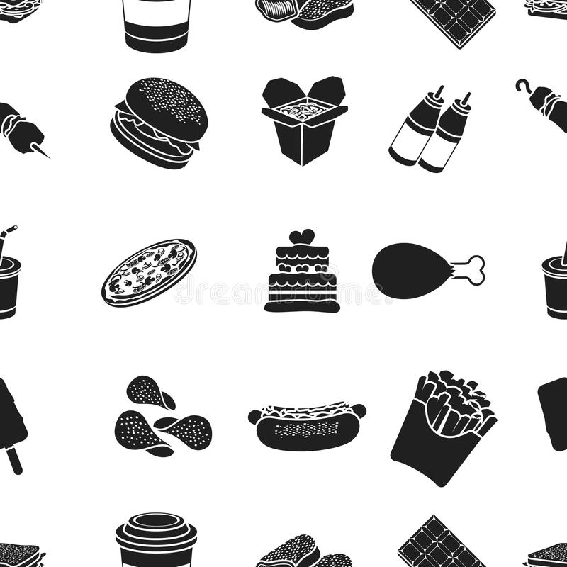 Fast Food Pattern Icons In Black Style Big Collection Of Fast Food