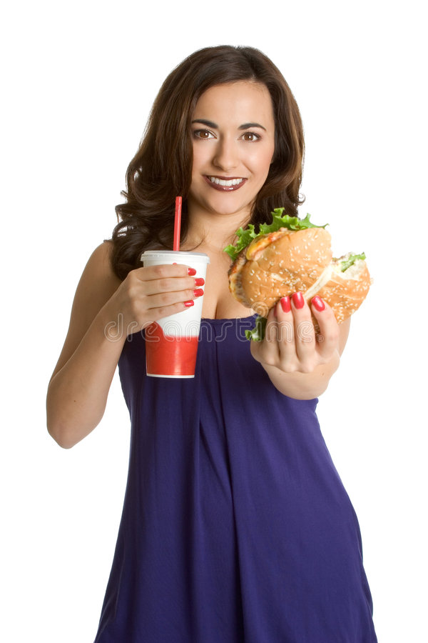 Fast Food Person. Beautiful person eating fast food royalty free stock image