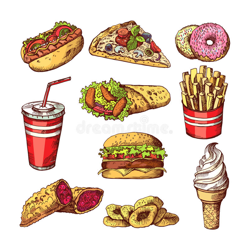 Fast food pictures. Burgers, cola sandwich hotdog and french fries. Hand drawn color vector illustrations stock illustration