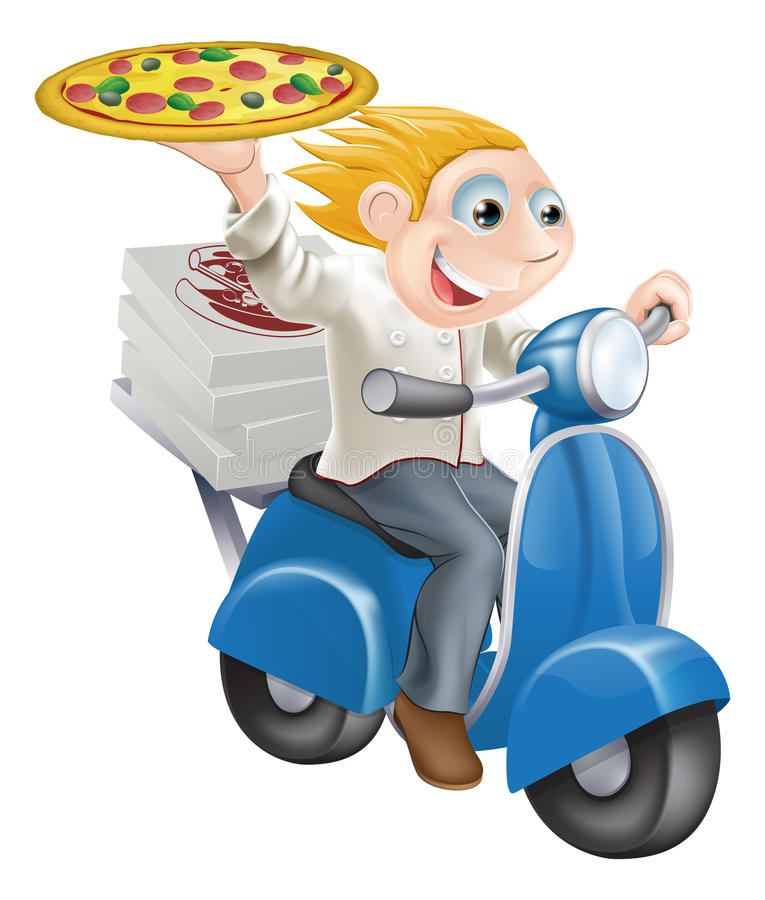 Download Fast food pizza delivery stock vector. Image of moped - 26489694