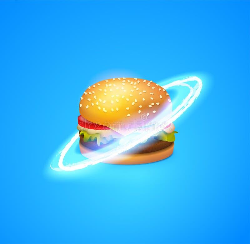Cute Astronaut Eating Burger Cartoon Vector Icon Illustration Space Food Icon