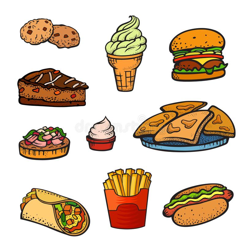 Pop art style fast food set. Fast food pop art style set. Hamburger, biscuit, cake, ice cream, burrito and other. Vector illustration in cartoon comic style stock illustration