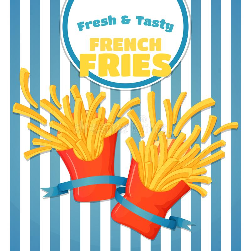 Fresh and tasty french fries poster. Flying potato chips on a striped background stock illustration