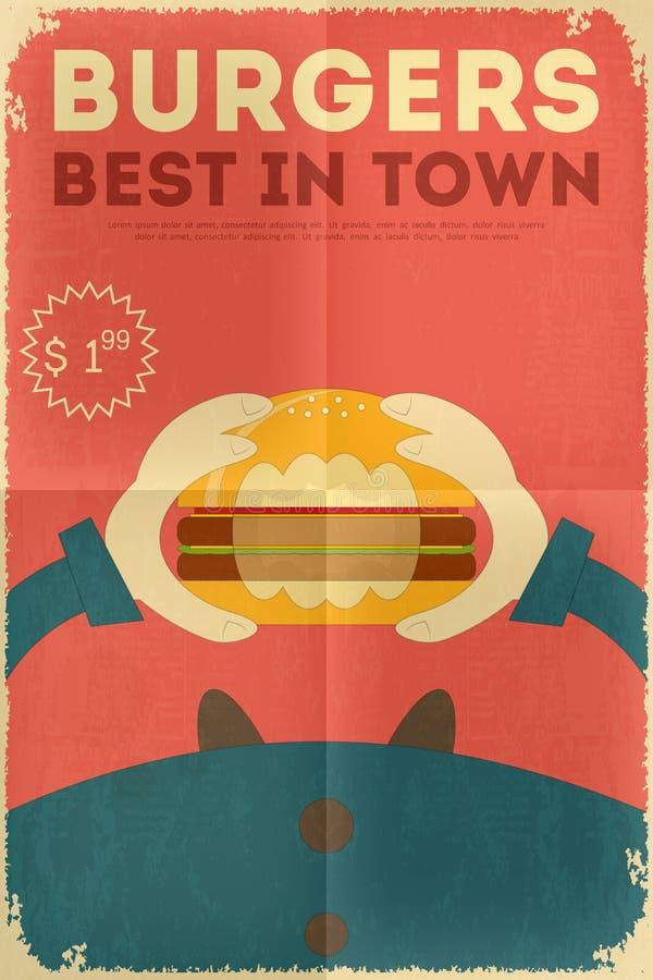 Fast food poster. Fast Food Fun Poster in Retro Design Style. Big Burger. Illustration royalty free illustration