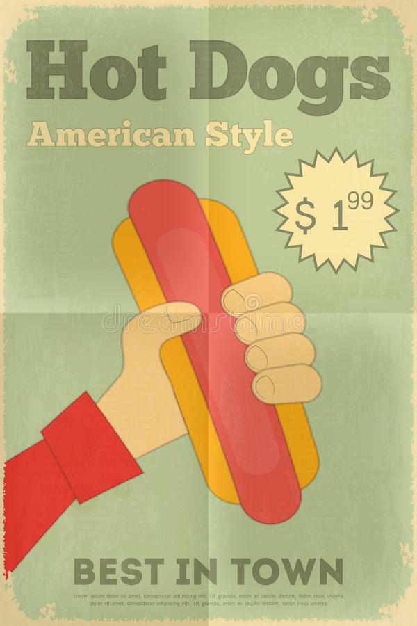 Fast food poster. Fast Food Fun Poster in Retro Design Style. Big Hot Dog. Illustration royalty free illustration