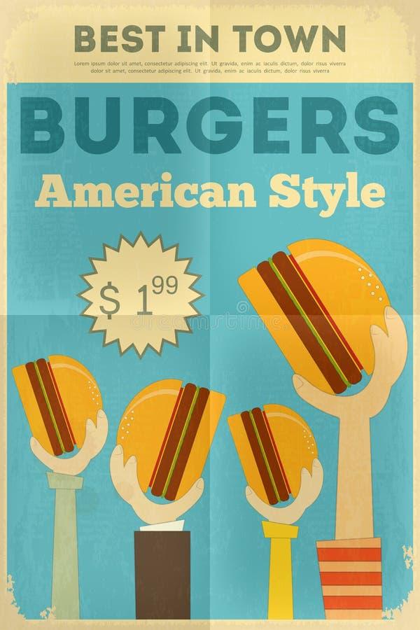 Fast food poster. Fast Food Fun Poster in Retro Design Style. Hamburgers. Illustration royalty free illustration
