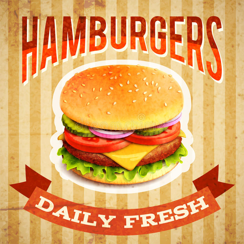 Fast Food Poster. Fast food restaurant poster with beaf meat hamburger emblem vector illustration stock illustration