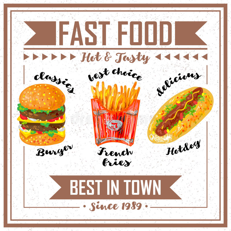 Fast Food Poster. With title fast food hot and tasty best in town vector illustration royalty free illustration