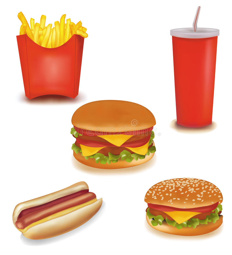 Download Fast food products. stock vector. Illustration of dinner - 13732351