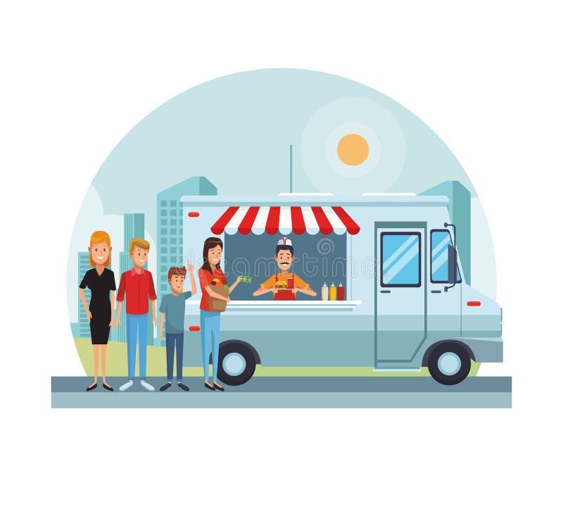 Fast food przy parkiem ilustracji