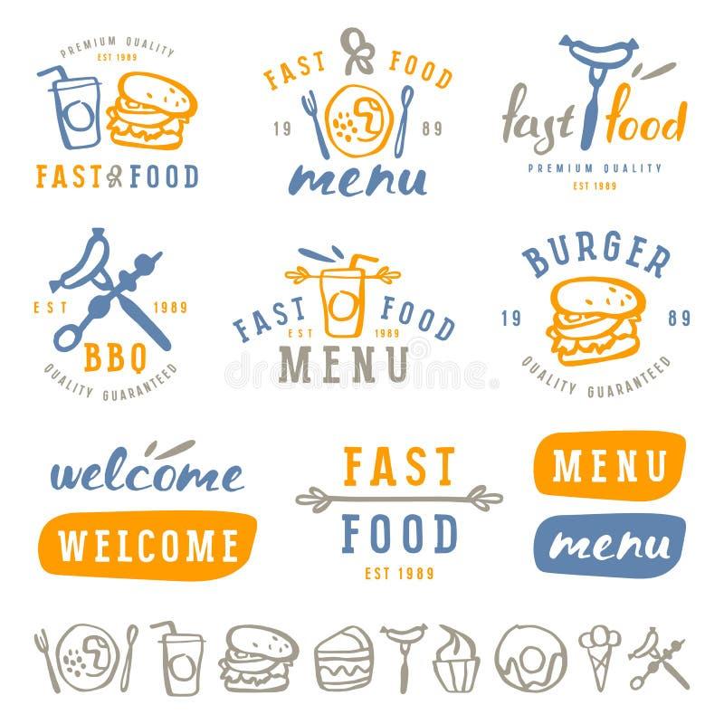 Fast food przylepia etykietkę szablon w szczotkarskiego rysunku stylu royalty ilustracja