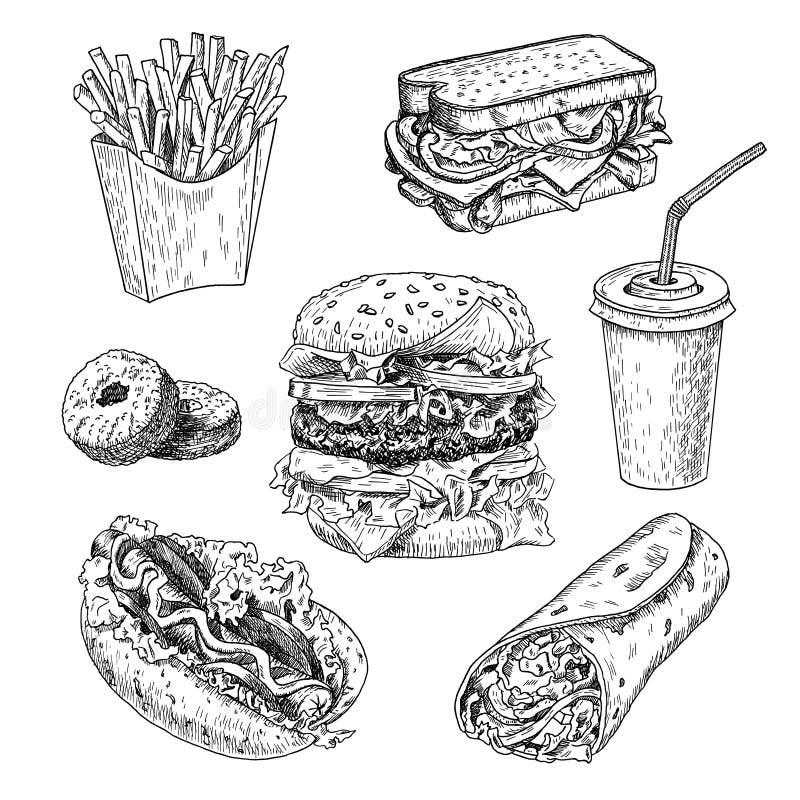 Fast food ręka rysująca wektorowa ilustracja Hamburger, francuzów dłoniaki, kanapka, hot dog, pączki, burrito i kola grawerujący  ilustracja wektor