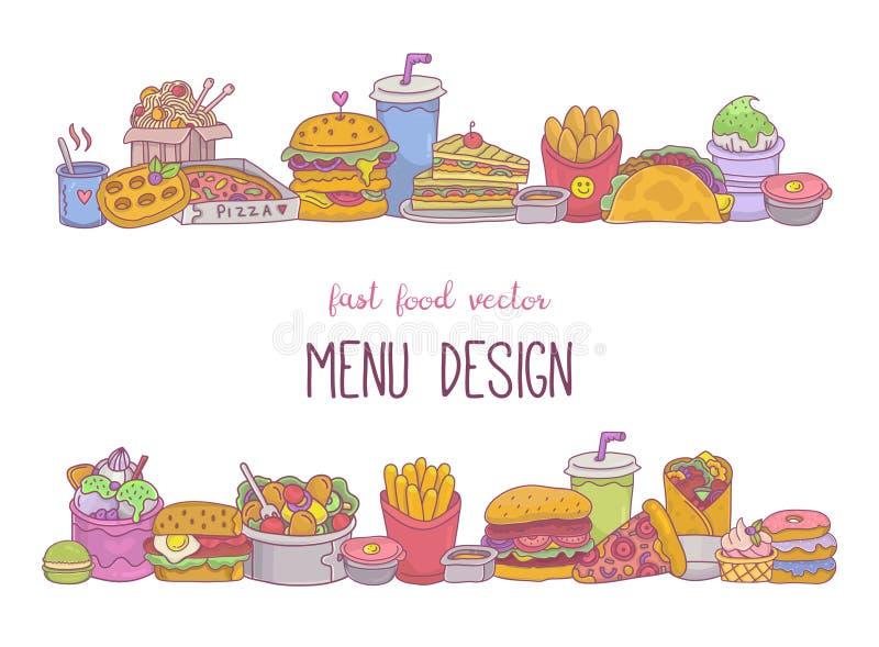 Fast Food Rahmen mit Pommes frites, Burger, Pizza, Kebab, Sandwiches, Straßenbelag-Icons vektor abbildung