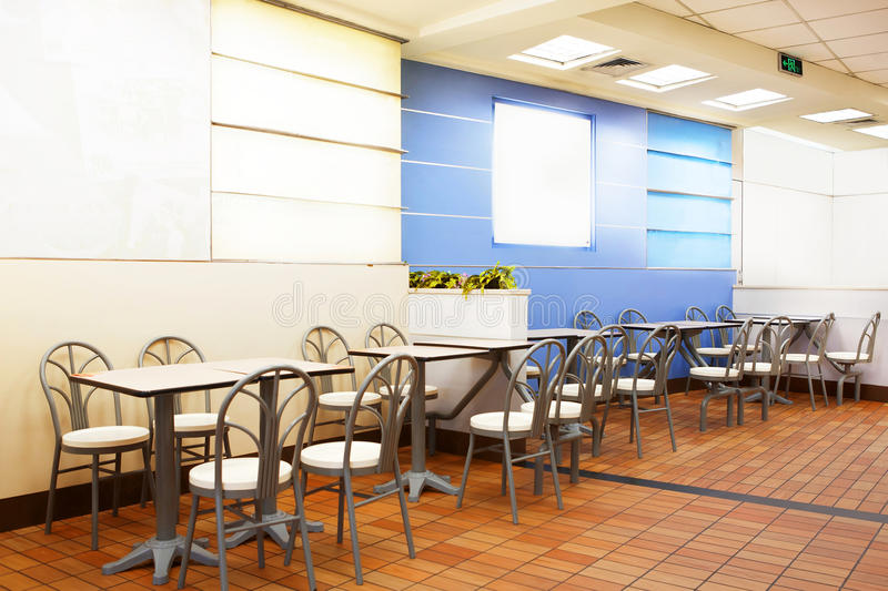 Fast food restaurant. Interior view of the fast food restaurant royalty free stock photos