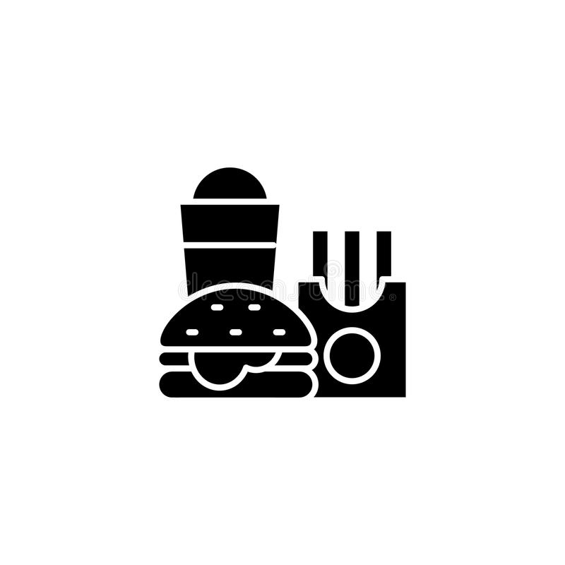 Fast food restaurant black icon concept. Fast food restaurant flat vector symbol, sign, illustration. vector illustration