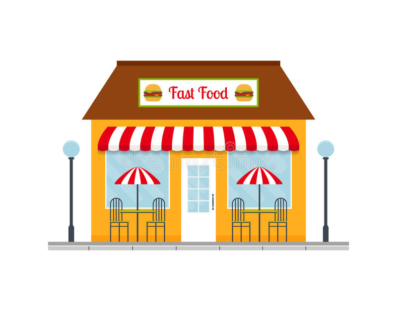 Fast food restaurant building icon. Fast food restaurant building icon or facade. EPS10 vector illustration in flat style vector illustration