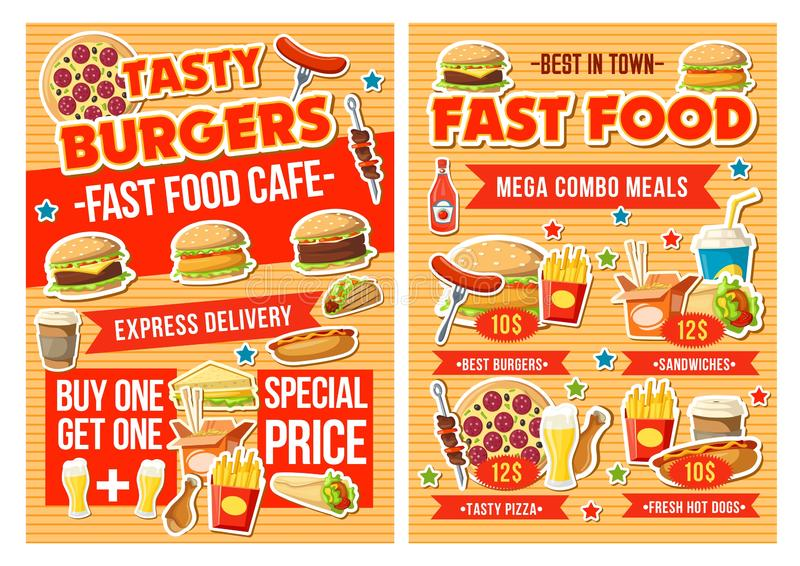 Fast food burger, pizza and drinks. Combo menu vector illustration