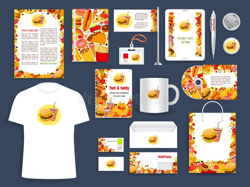 Fast Food Restaurant Corporate Identity Template Stock Vector ...