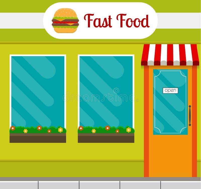 Fast food restaurant front. vector illustration