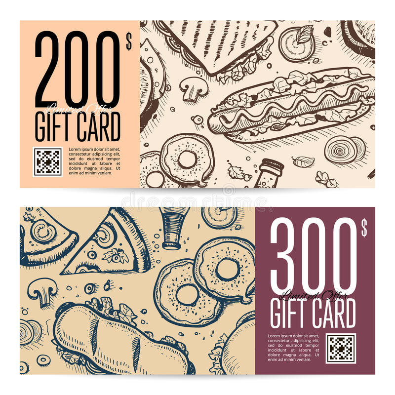 Fast food restaurant gift card set in retro style. Vector voucher with burger, pizza, dessert, drink, sandwich hand drawn doodles. Cafe discount coupon, junk stock illustration