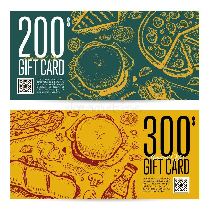 Fast food restaurant gift card set. Vector voucher with burger, pizza, dessert, drink, sandwich hand drawn doodles. Cafe discount coupon, junk food retro stock illustration
