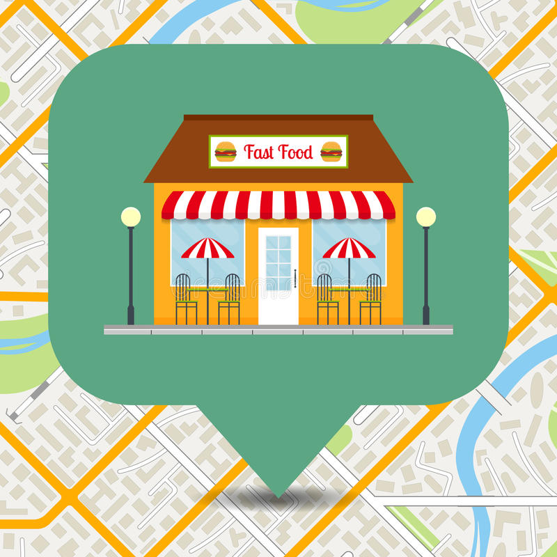 Fast food restaurant icon pinpoint on city map. vector illustration