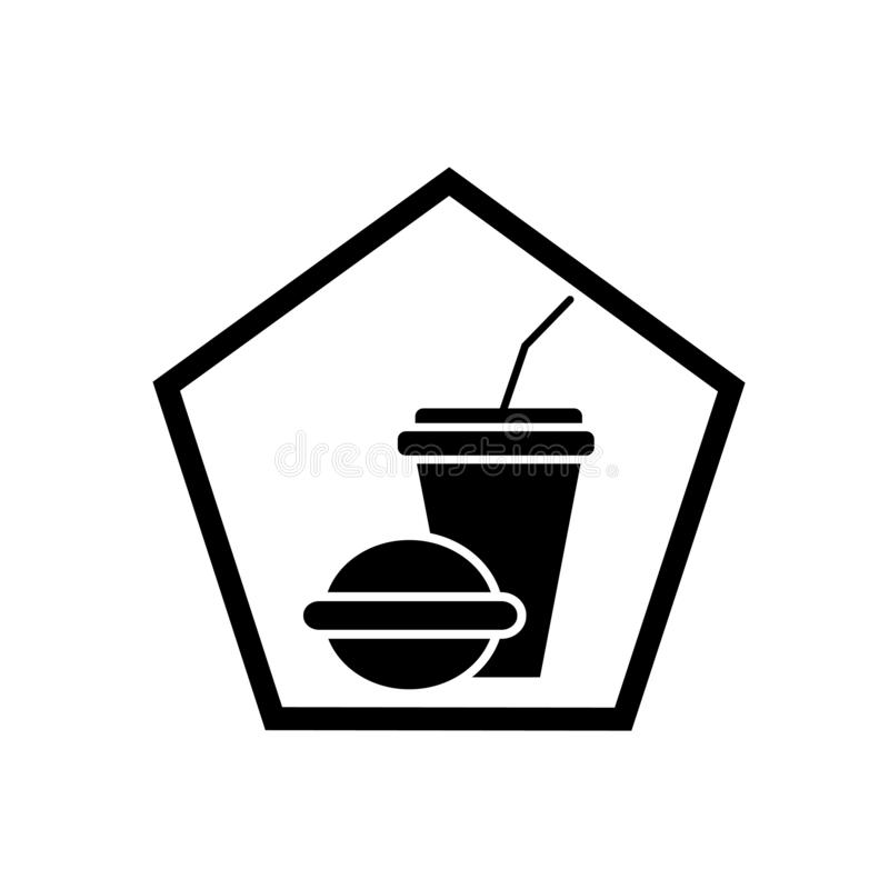 Fast food restaurant icon vector isolated on white background, F stock illustration