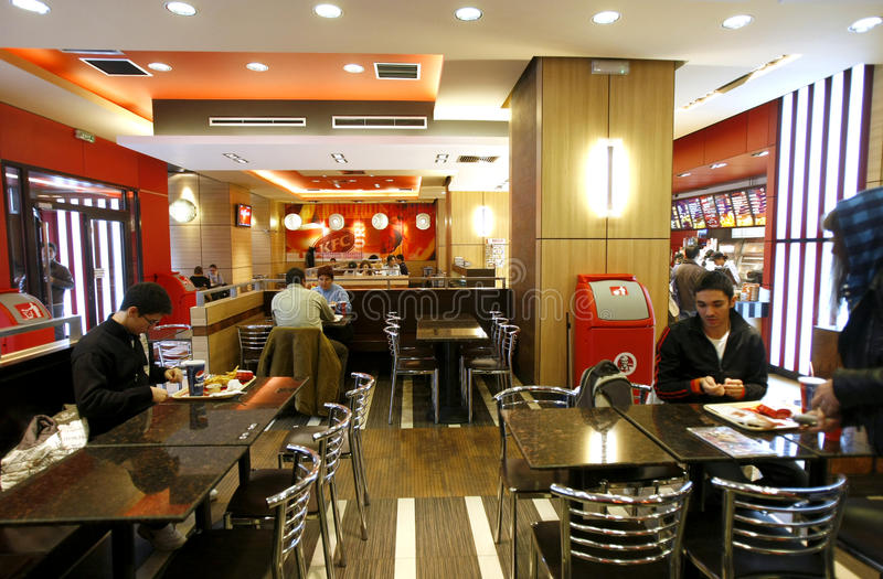 Fast food restaurant interior editorial stock photo