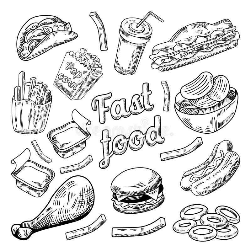 Fast Food Restaurant Menu. Hand Drawn Sketch Burger French Fries Hot Dog stock illustration