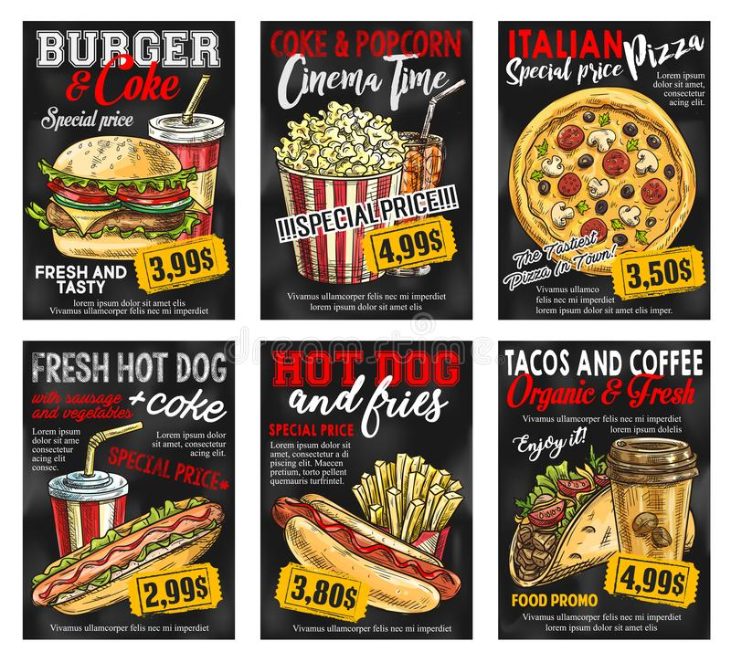 Fast food restaurant menu price card on blackboard. Fast food restaurant menu promo card with special price. Hamburger, hotdog and pizza with soda and coffee stock illustration