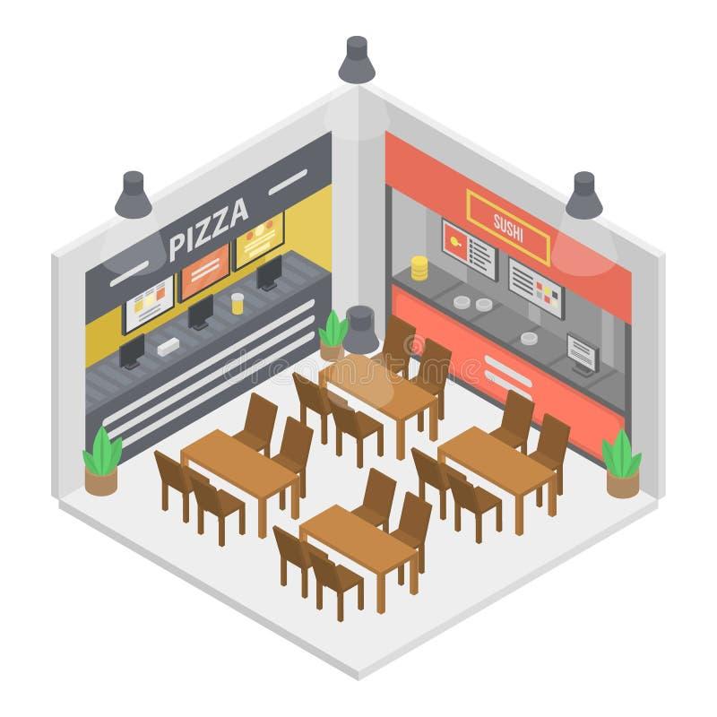 Fast food restaurant room icon, isometric style stock illustration