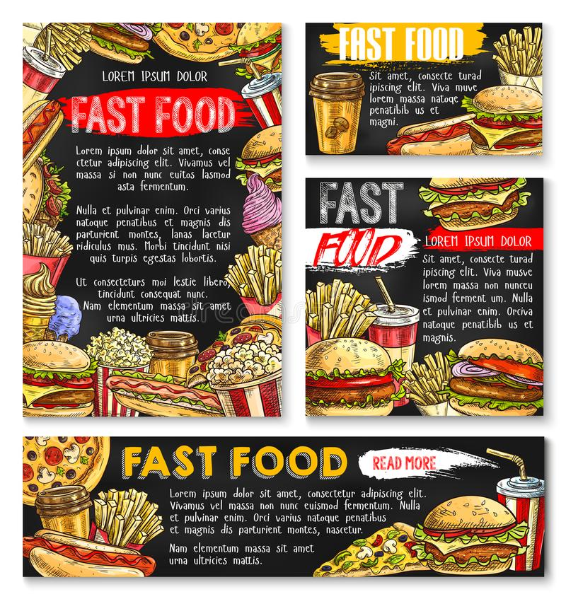 Fast food vector sketch posters fastfood burgers. Fast food restaurant sketch posters and banners templates of burgers and sandwiches for fastfood cafe. Vector stock illustration