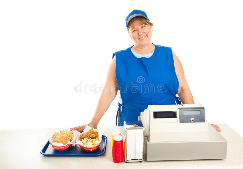Fast Food Restaurant Worker Smiling. Friendly fast food worker serves food and runs the cash register. White background royalty free stock photo