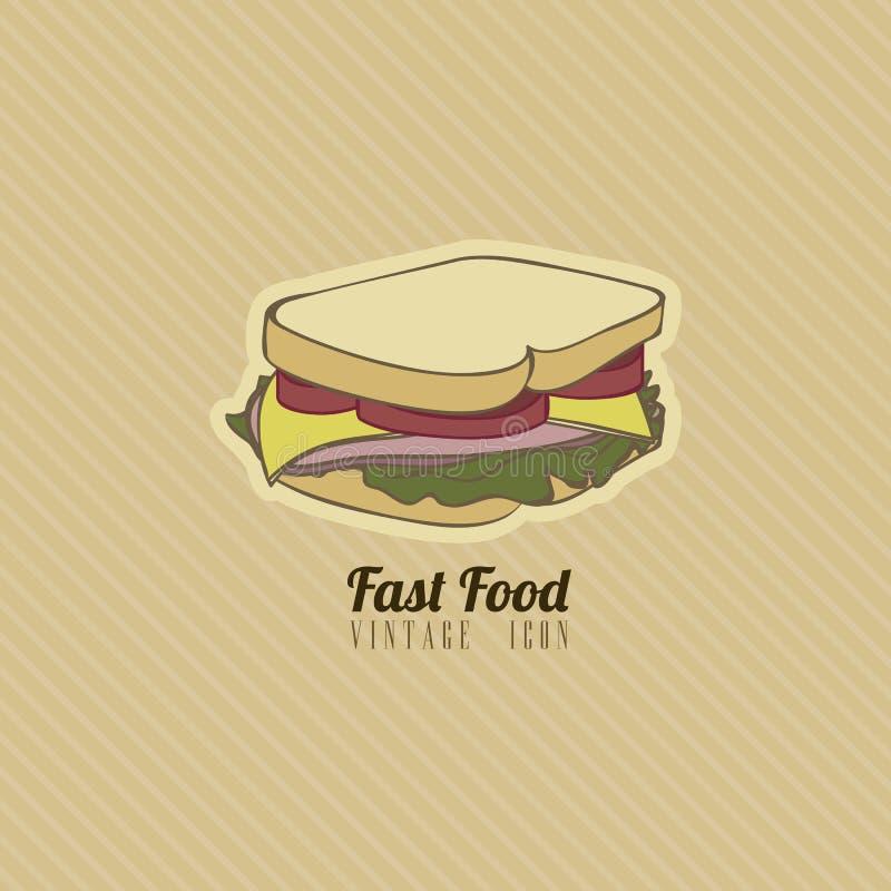 Fast food retro ilustração royalty free