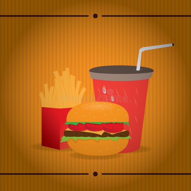 Fast food retro ilustração do vetor