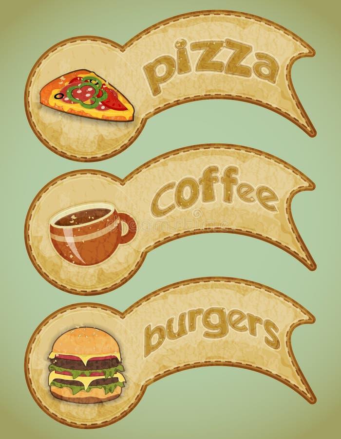 Fast food retro etykietki ilustracji