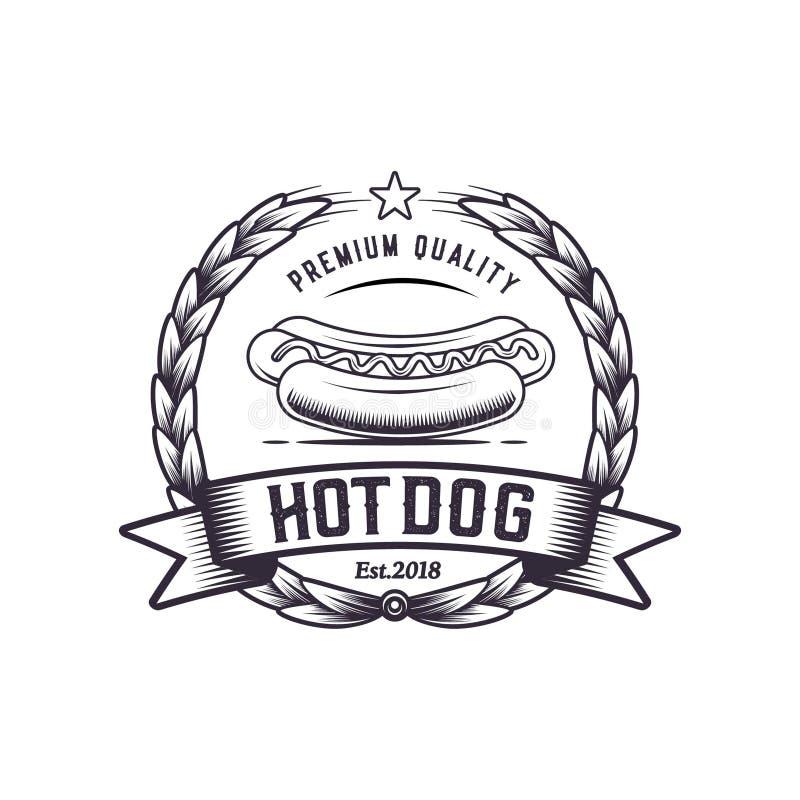 Fast Food Retro Illustration.Vector Vintage Logo Design. Weiner ...